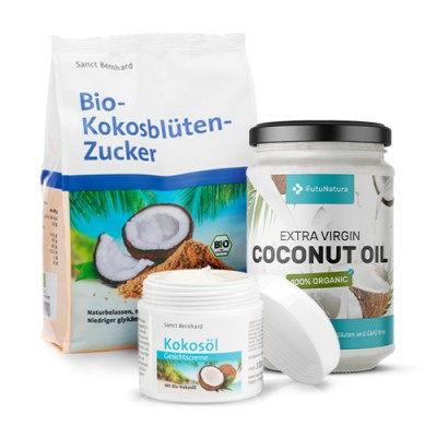 Komplet Slatki kokos: Kokosov šećer + Kokosovo ulje + Krema za lice